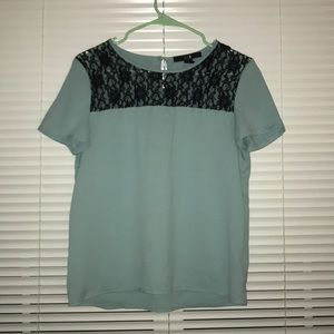 Light Blue Blouse w/ Lace Detailing
